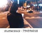 girl pointing finger on screen... | Shutterstock . vector #794596018