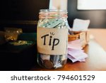 Tip Box  Money Bank And Coins...