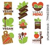 vegetarian cafe menu vector... | Shutterstock .eps vector #794603848