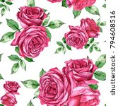 hand drawn watercolor seamless... | Shutterstock . vector #794608516