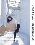 japanese businesswoman dropping ... | Shutterstock . vector #794611414