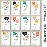 2018 monthly calendar with cute ...   Shutterstock .eps vector #794616769