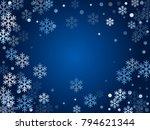 winter card border of snow... | Shutterstock .eps vector #794621344