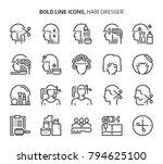 hair dresser  bold line icons.... | Shutterstock .eps vector #794625100