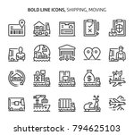 shipping and moving  bold line... | Shutterstock .eps vector #794625103