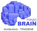 brain logo silhouette side view ... | Shutterstock .eps vector #794628568