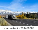truck on highway in mountains | Shutterstock . vector #794633683
