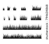 silhouettes of black grass ... | Shutterstock .eps vector #794634868