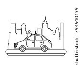 sedan car vehicle in the city   Shutterstock .eps vector #794640199