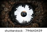 metal gear mechanism. mixed... | Shutterstock . vector #794643439