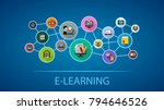 e learning flat icon concept.... | Shutterstock .eps vector #794646526