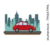 sedan car vehicle in the city | Shutterstock .eps vector #794647996