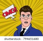 pop art man on a halftone...   Shutterstock .eps vector #794651680