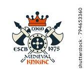 medieval knight logo  escb 1975 ... | Shutterstock .eps vector #794653360