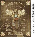 vintage custom motorcycle ... | Shutterstock . vector #794663404