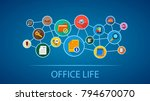 office life flat icon concept.... | Shutterstock .eps vector #794670070