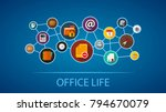 office life flat icon concept.... | Shutterstock .eps vector #794670079
