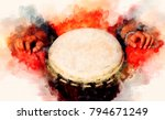 Lady Drummer With Her Djembe...