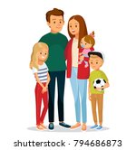 young family portrait of 5 five ... | Shutterstock .eps vector #794686873