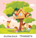 tree house with kids | Shutterstock .eps vector #794686876