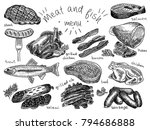meat  fish  menu  steak  trout  ... | Shutterstock .eps vector #794686888