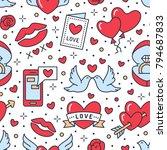 valentines day seamless pattern.... | Shutterstock .eps vector #794687833