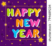 happy new year.  artoon bubble... | Shutterstock .eps vector #794689234