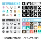 networking icons set | Shutterstock .eps vector #794696704