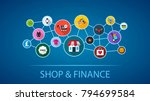 shop and finance flat icon... | Shutterstock .eps vector #794699584