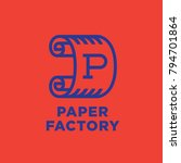 paper factory emblem logo. roll ...   Shutterstock .eps vector #794701864