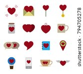 valentine icon set vector...   Shutterstock .eps vector #794705278