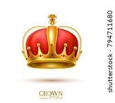 golden crown realistic vector... | Shutterstock .eps vector #794711680