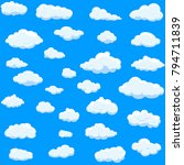 clouds set isolated on blue... | Shutterstock .eps vector #794711839