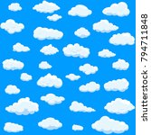 Clouds set isolated on blue background.Collection of clouds for web site,poster,placard and wallpaper. Creative modern concept. Clouds vector illustration | Shutterstock vector #794711848