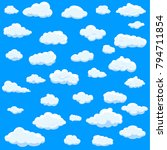 clouds set isolated on blue... | Shutterstock .eps vector #794711854