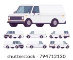 white van set. road vehicle for ... | Shutterstock .eps vector #794712130