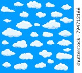 clouds set isolated on blue... | Shutterstock .eps vector #794712166