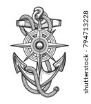 anchor with ropes and nautical... | Shutterstock .eps vector #794713228