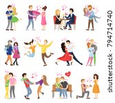 happy couples in love... | Shutterstock .eps vector #794714740