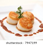Baked scallops - stock photo