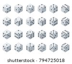 set 24 authentic icons of dice... | Shutterstock .eps vector #794725018