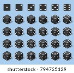 set 24 authentic icons of dice... | Shutterstock .eps vector #794725129