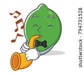 with trumpet lime mascot...   Shutterstock .eps vector #794731528
