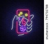 online casino is a neon sign.... | Shutterstock .eps vector #794732788