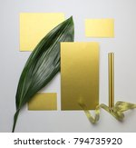 set of gold paper cards with... | Shutterstock . vector #794735920