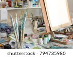 artists brushes with soft focus ... | Shutterstock . vector #794735980