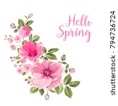 hello spring card with purple... | Shutterstock .eps vector #794736724