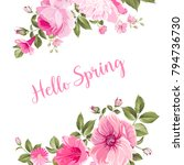 hello spring card with purple... | Shutterstock .eps vector #794736730