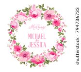 invitation card with floral... | Shutterstock .eps vector #794736733