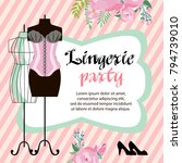 lingerie party invitation cards ...   Shutterstock .eps vector #794739010